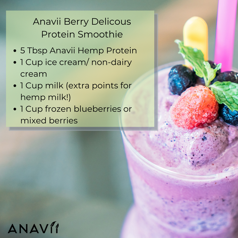 Recipe for Anavii Berii Delicious Protein Smoothie: 5 TBSP Anavii Health Hemp Protein, 1 Cup Ice Cream or Non-Dairy Cream, 1 cup milk or hemp milk, 1 cup frozen blueberries or mixed berries