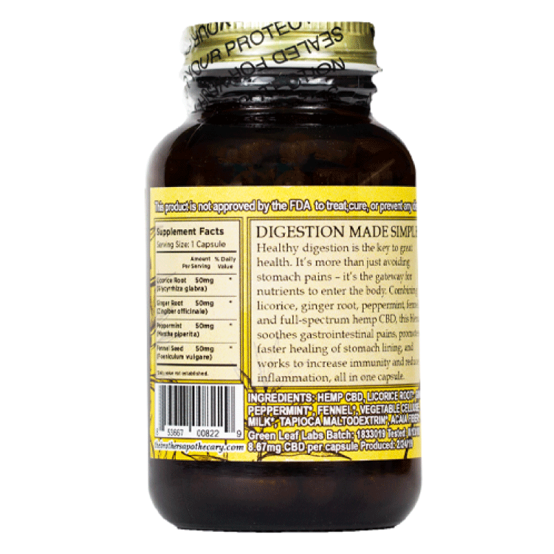 Apothecary CBD Digest Well Capsules Label