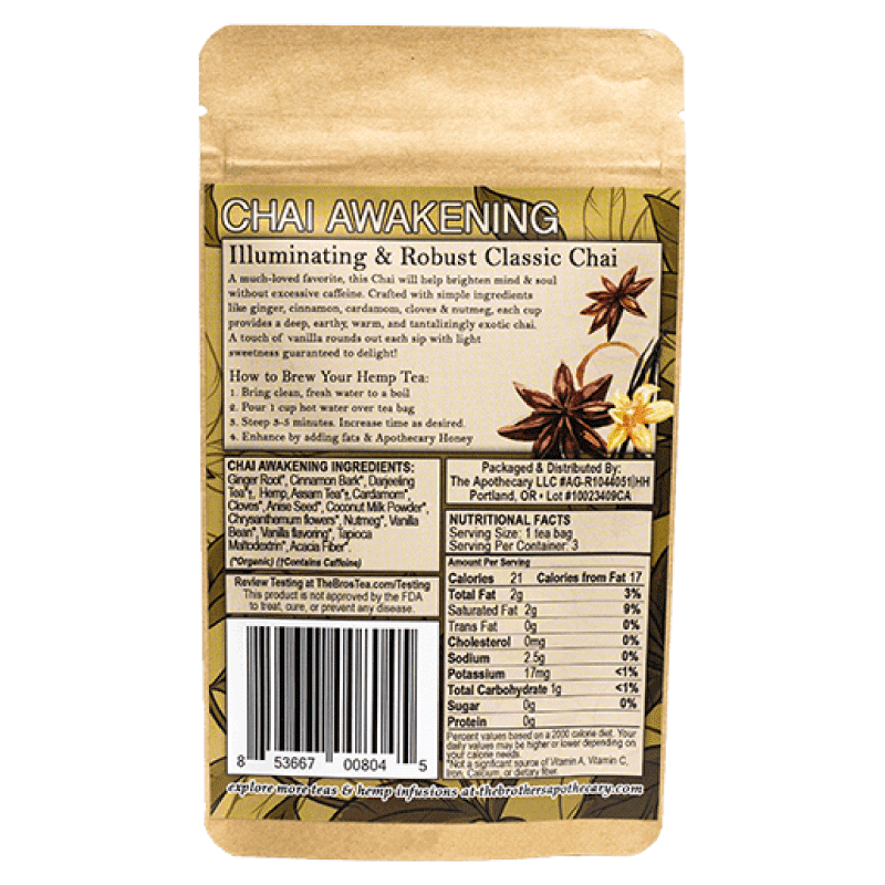Brothers Apothecary Chai CBD Tea Nutrition Label