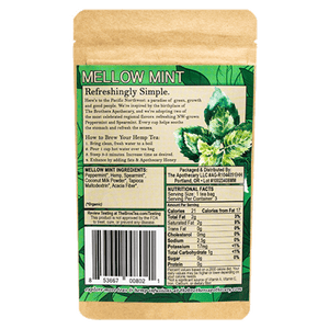 Brothers Apothecary CBD Mellow Tea Nutrition Label