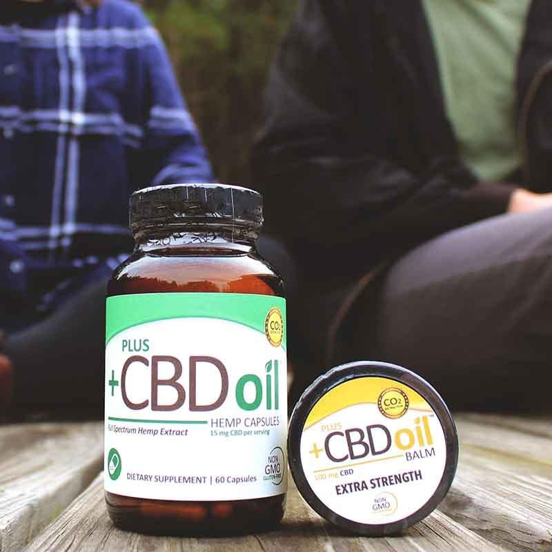 Plus CBD Oil 15mg Green Capsules with Gold Balm