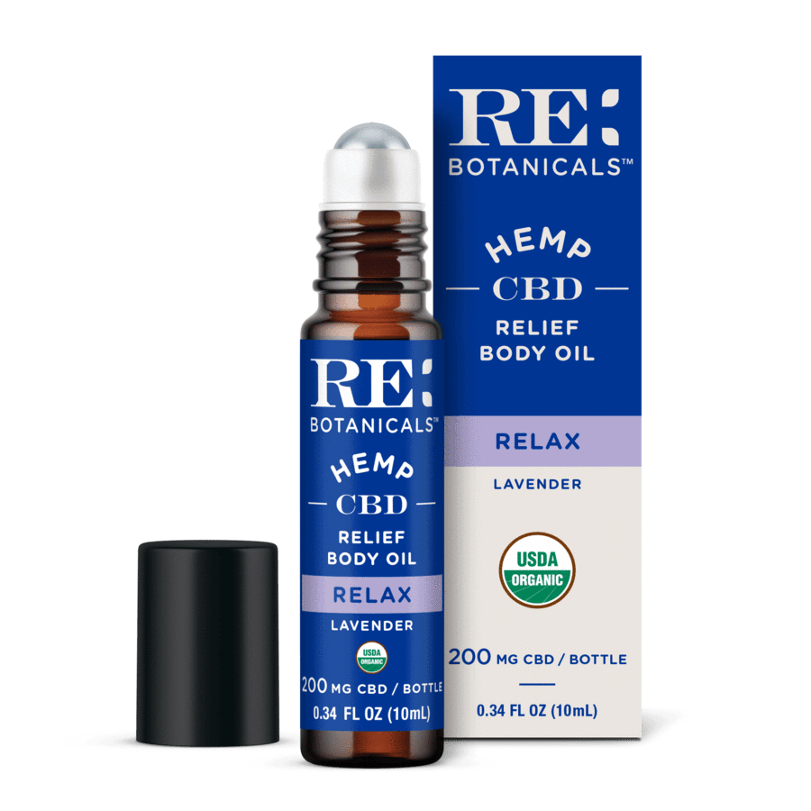 RE Botanicals Hemp CBD Roll On, Lavender – USDA Organic 200mg or 500mg Extra Strength CBD