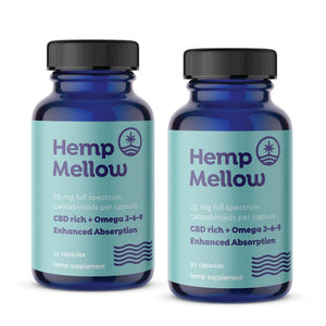 Hemp Mellow 25mg Full Spectrum Cannabinoid Capsules - 15ct or 30ct