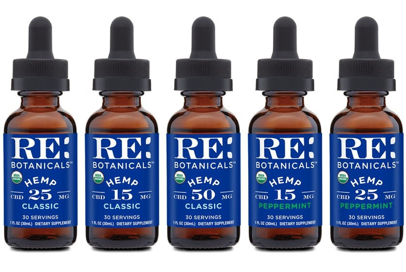 RE Botanicals CBD Oil – USDA Organic 450mg, 750mg, and 1500mg (Natural or Peppermint)