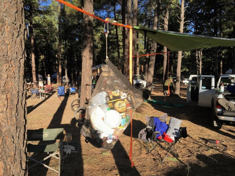 30 gallon Camp Flexi-Can at Pickin' in the Pines facing trees