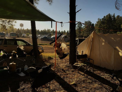30 gallon Camp Flexi-Can on hang-line at Ft Tuthill Fairgrounds, Flagstaff, Arizona