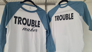 """Trouble"" Youth baseball t-shirt"