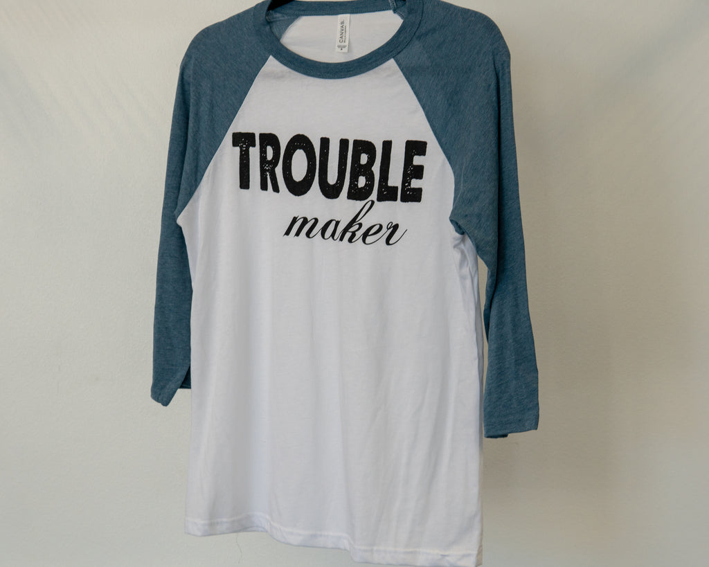 """Trouble Maker"" Adult Baseball T-shirt"