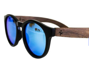 Blue Walnut Round Sunglasses