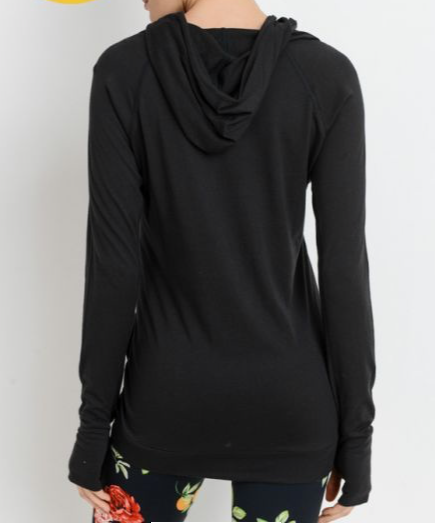 Sleek Hoodie Long-Sleeve Top