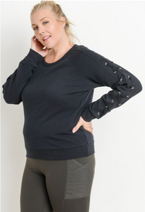 Dye Lace-Sleeve Fleece Sweater