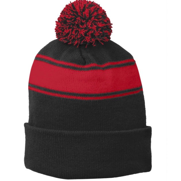 Red Stripe Pom Pom Beanie