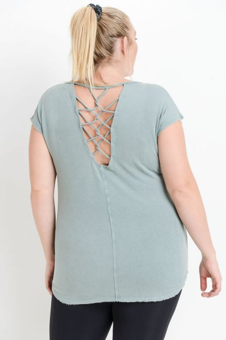 Curvy- Lattice strap mineral wash t-shirt