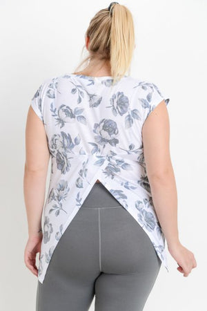 Curvy- Shadowbox Floral Back Overlay Top