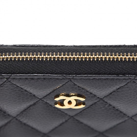 Chanel Quilted Caviar Zip Card Purse