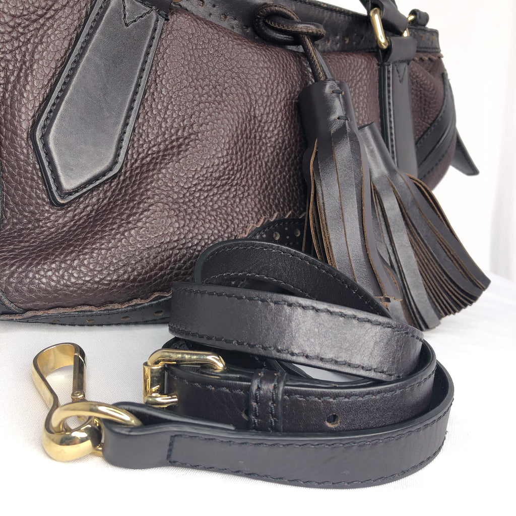 Burberry Dark Brown Black Prorsum Leather Satchel