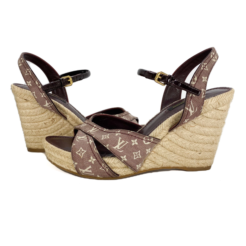 Louis Vuitton Monogram Denim Espadrille Wedge Sandals