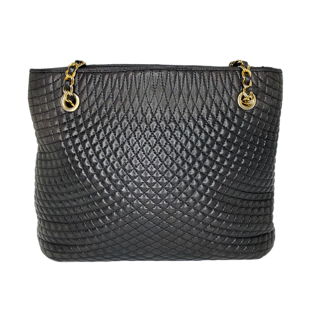 Bally Vintage Quilted Black Leather Shoulder Bag