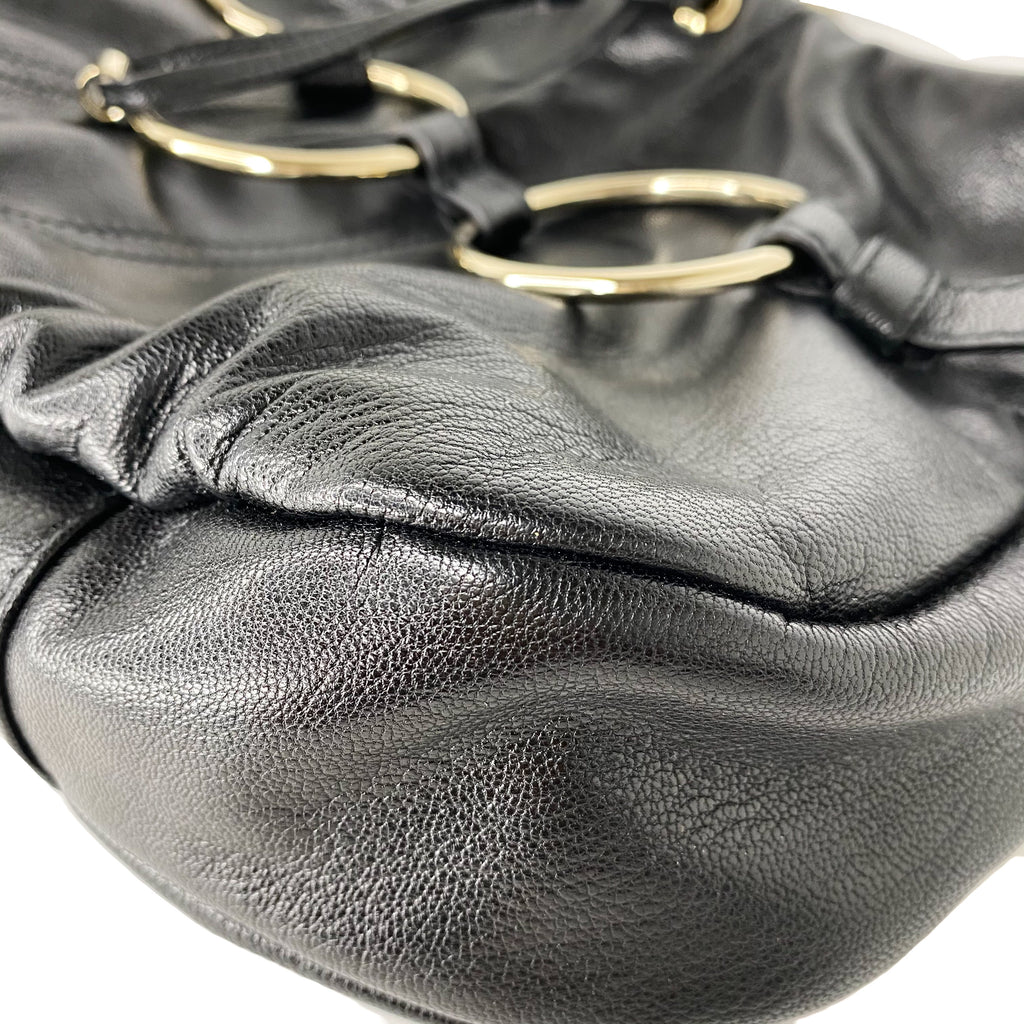 Yves Saint Laurent Black Leather Saharienne Bag