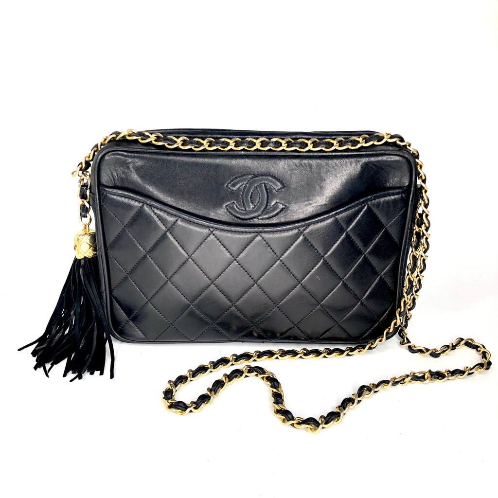 Chanel Vintage Quilted Tassel Camera Bag