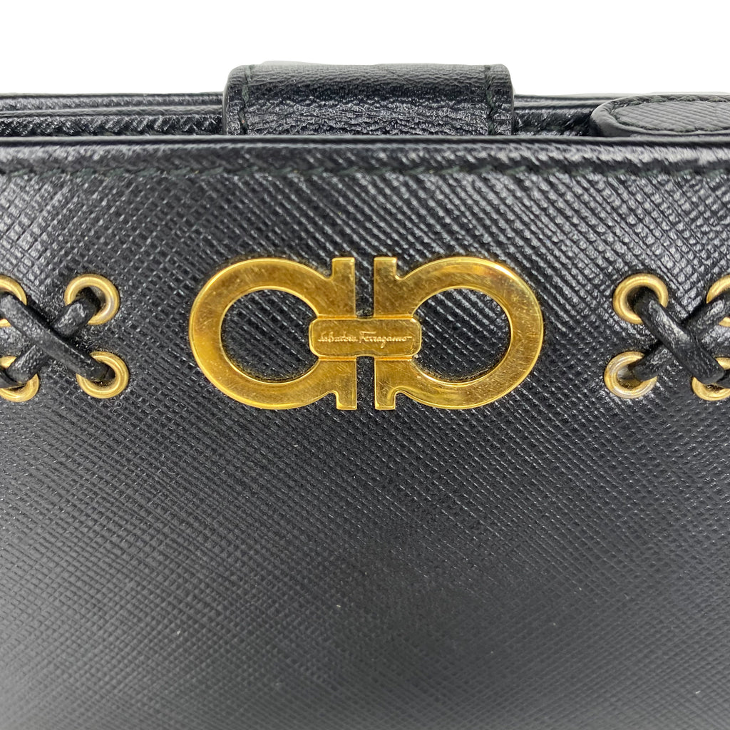 Salvatore Ferragamo Black Travel Wallet