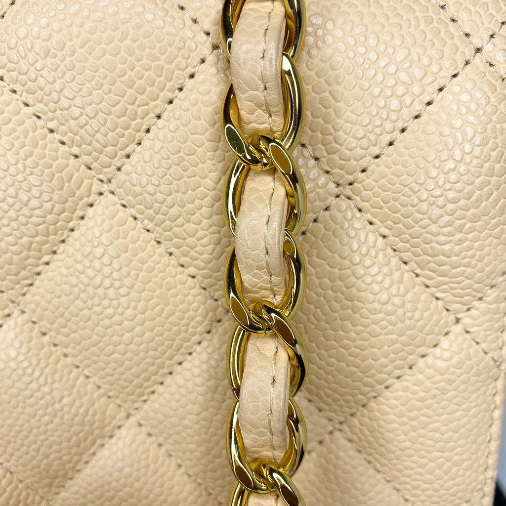 Chanel Quilted Beige Caviar Jumbo Flap Bag