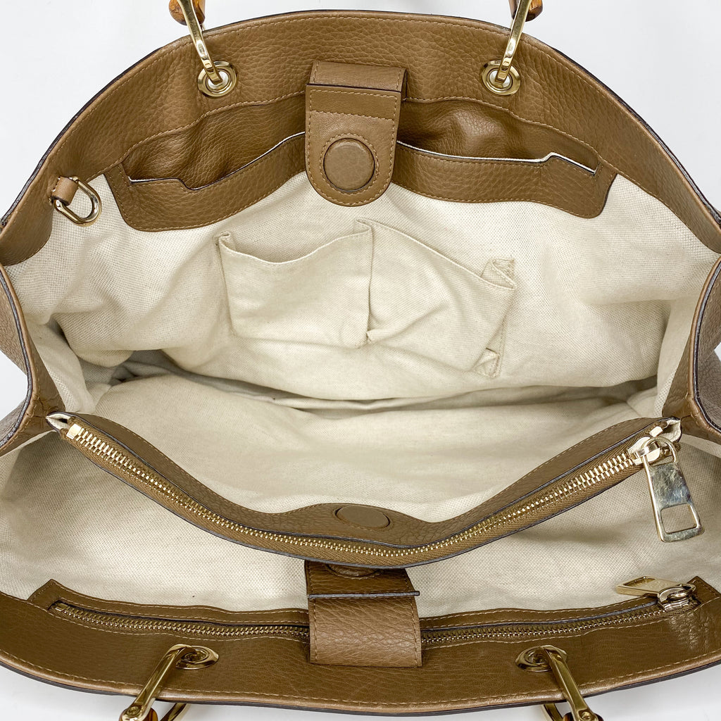 Gucci Bamboo Leather Large Shopper Tote