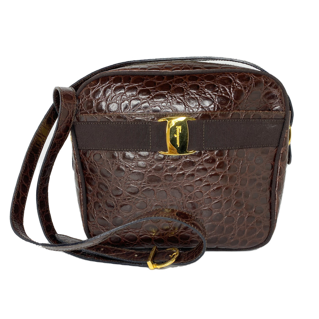 Salvatore Ferragamo Embossed Crocodile Crossbody