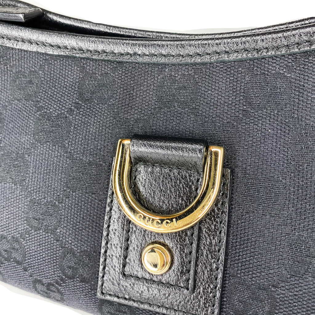 Gucci Black GG Canvas D Ring Pochette