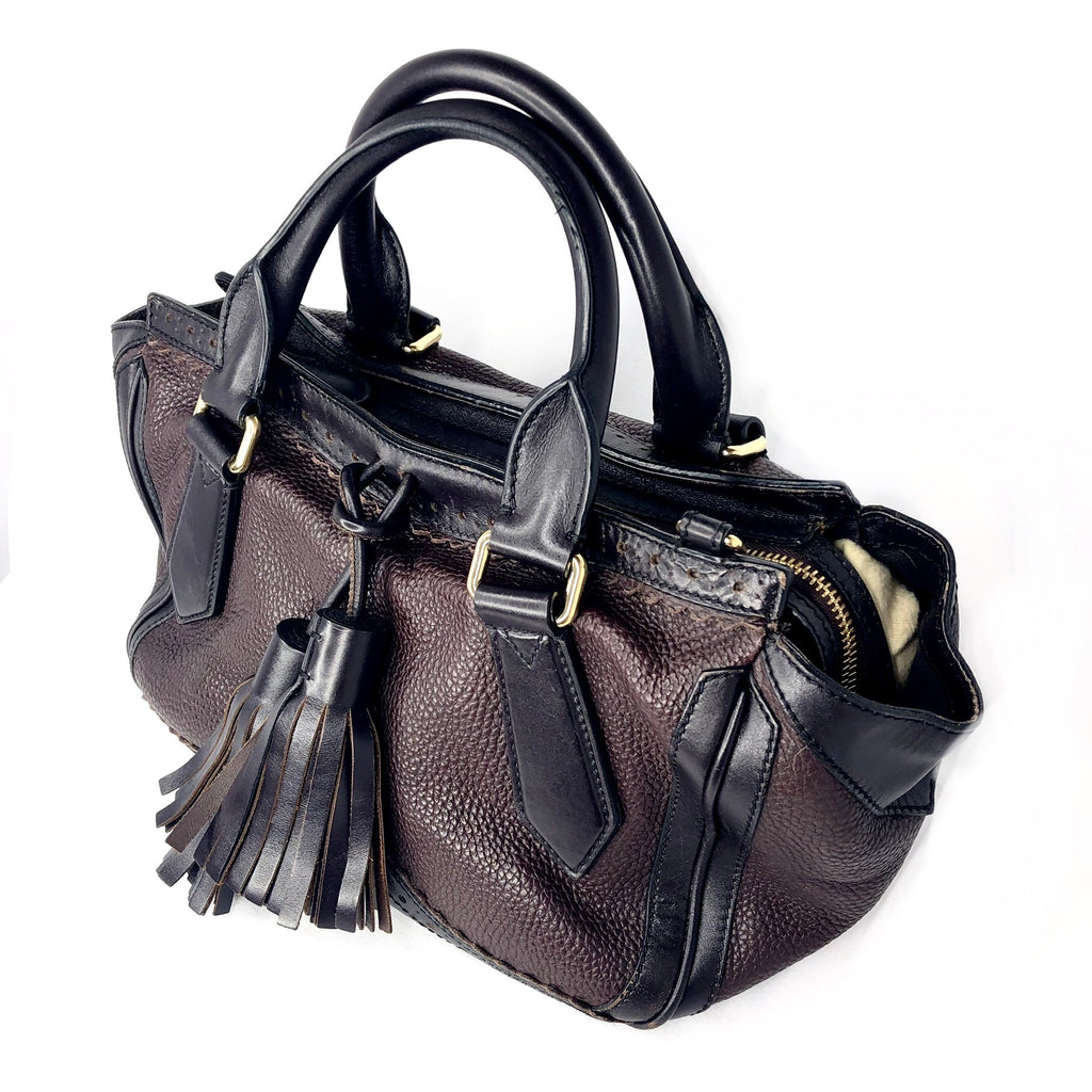 Burberry Leather Tassel Crossbody Shoulder Bag