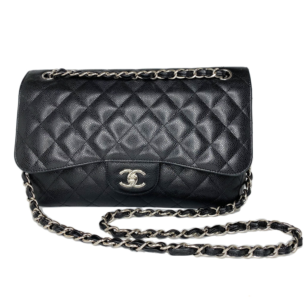 Chanel Black Caviar Jumbo Double Flap Bag