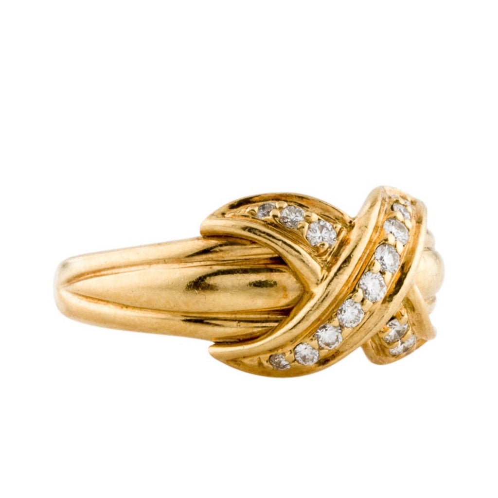 Tiffany & Co Vintage 18K Signature Diamond X Ring