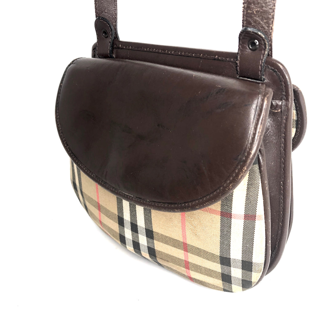 Burberry Vintage Double Saddle Equestrian Check Bag