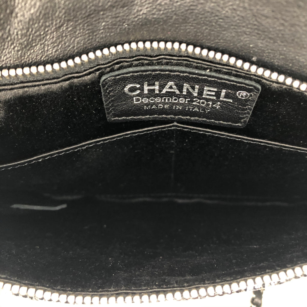 Chanel 2015 Quilted Zip Clutch On Chain