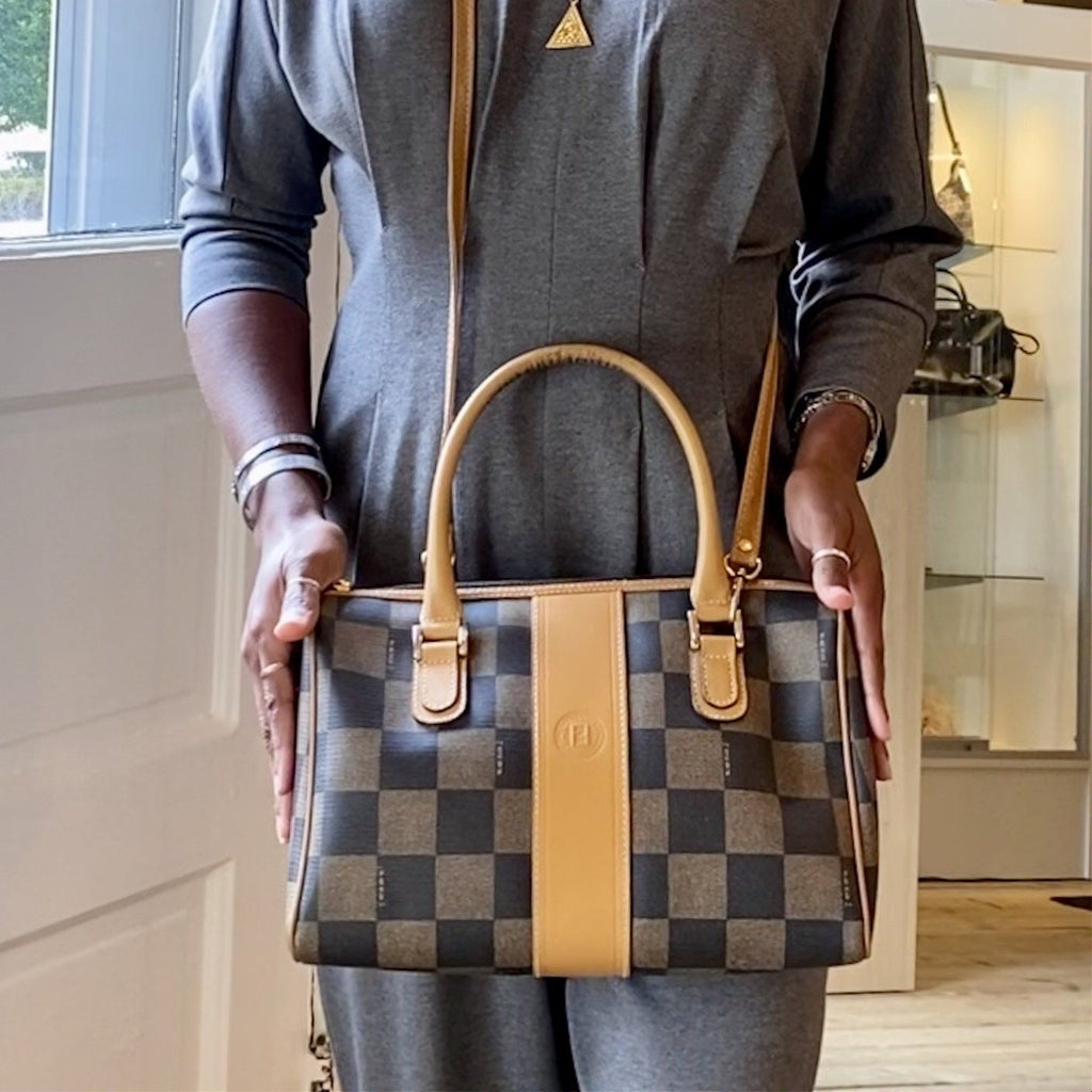 Fendi Vintage Checkered Boston Bag
