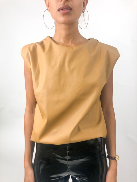 Mia Faux Leather Top