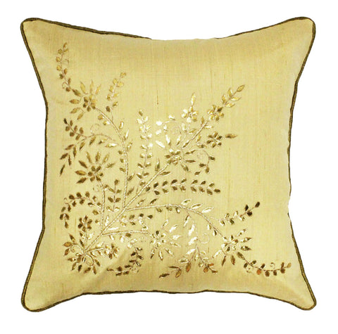 Gota Patti cushion cover - Beige - Large floral corner boota cushion cover - 16x16 inches - Dupioni silk