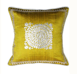 Pure silk gota Patti with zardozi work cushion cover - Greenish yellow - circular embroidery cushion cover - 12x12 inches - Pure silk
