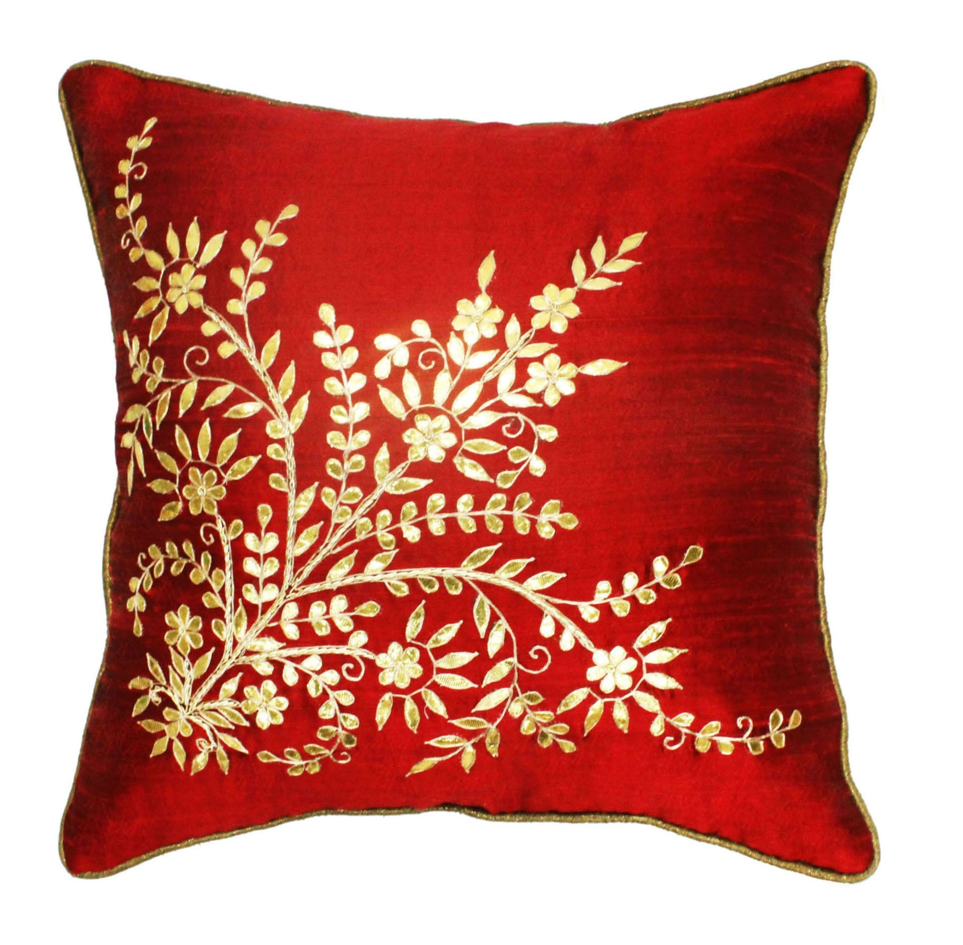 Gota Patti cushion cover - Red - Large floral corner boota cushion cover - 16x16 inches - Dupioni silk