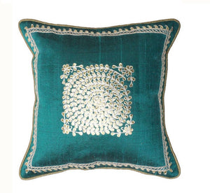 Pure silk gota Patti with zardozi work cushion cover - Turquoise - circular embroidery cushion cover - 12x12 inches - Pure silk