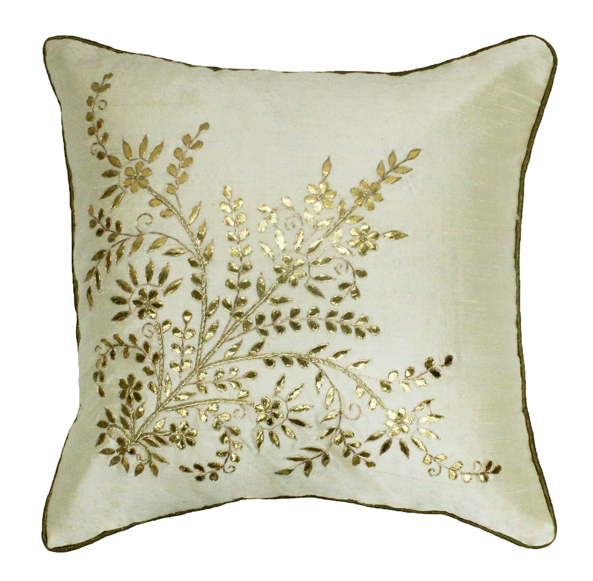 Copy of Gota Patti cushion cover - Off white - Large floral corner boota cushion cover - 16x16 inches - Dupioni silk