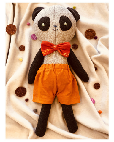 Poro the Panda - Fabric doll by Pookies - Handmade stuffed toy