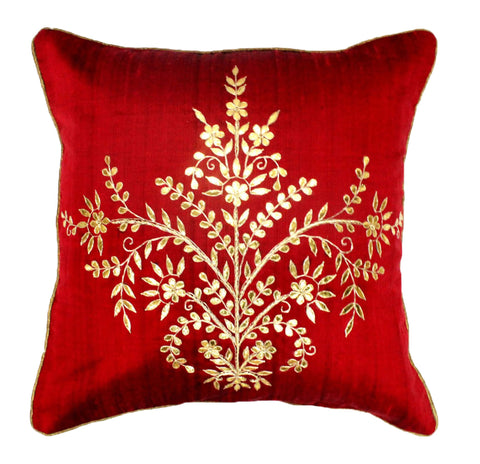 Gota Patti cushion cover - Red - Large floral boota cushion cover - 16x16 inches - Dupioni silk