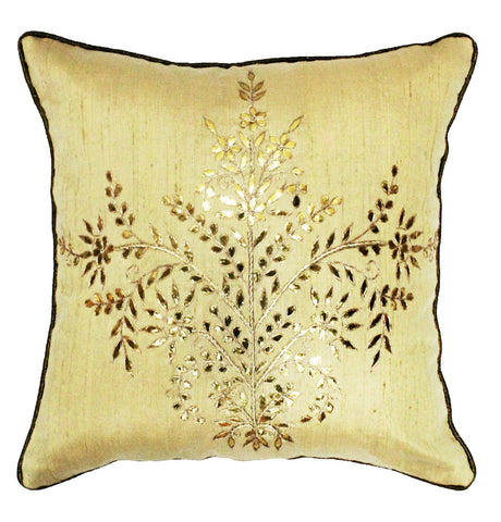 Gota Patti cushion cover - Beige- Large floral boota cushion cover - 16x16 inches - Dupioni silk