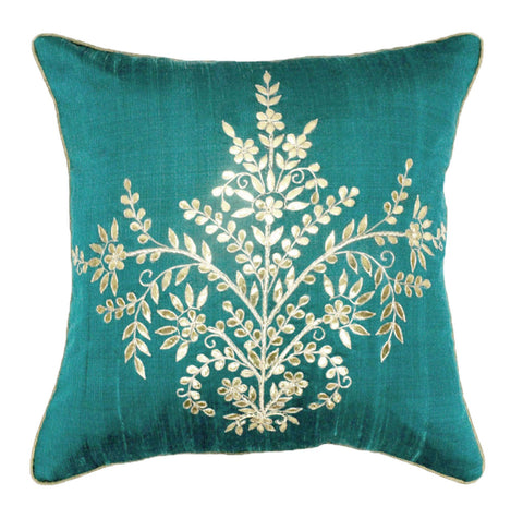 Gota Patti cushion cover - Turquoise - Large floral boota cushion cover - 16x16 inches - Dupioni silk