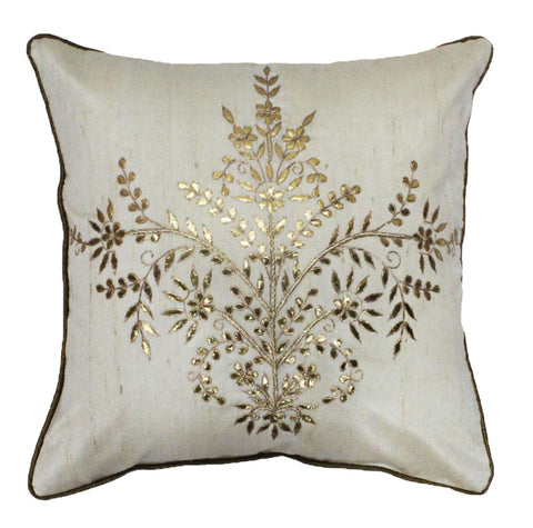 Gota Patti cushion cover - Off white - Large floral boota cushion cover - 16x16 inches - Dupioni silk