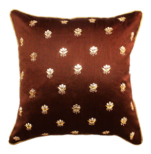 Gota Patti cushion cover - Brown - Small all over booti cushion cover - 16x16 inches - Dupioni silk