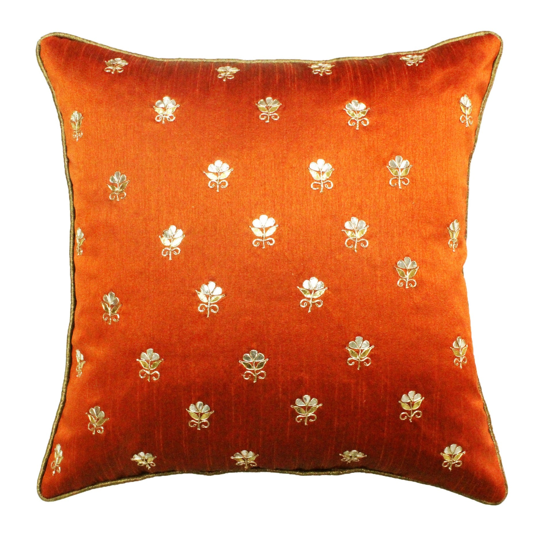 Gota Patti cushion cover - Orange - Small all over booti cushion cover - 16x16 inches - Dupioni silk