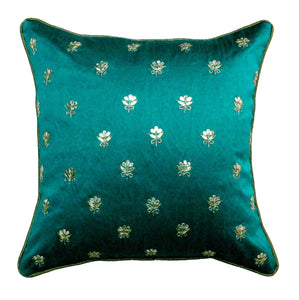 Gota Patti cushion cover - Turquoise - Small all over booti cushion cover - 16x16 inches - Dupioni silk