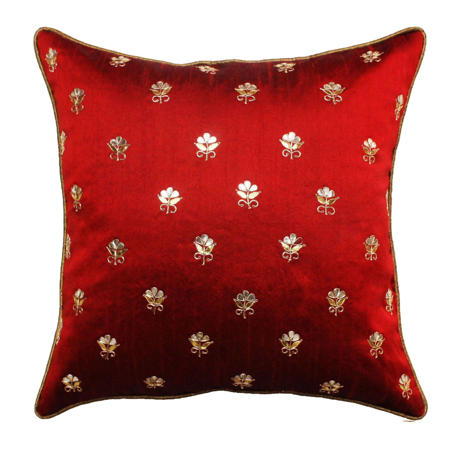 Gota Patti cushion cover - Red - Small all over booti cushion cover - 16x16 inches - Dupioni silk